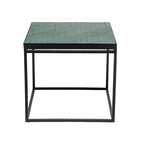Forest green concrete side table