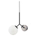 Margaux Two-Globe Modern Pendant Light (Black + White/Black Glass)