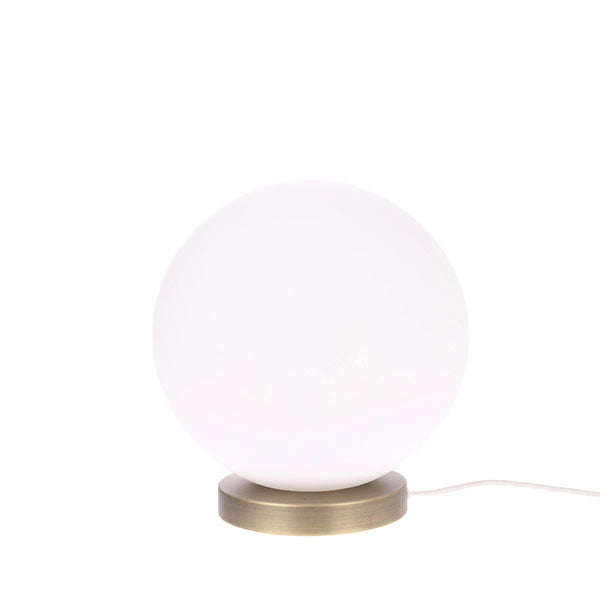 Moon Table Lamp - Smooth Matt White Glass + Brass  (medium)