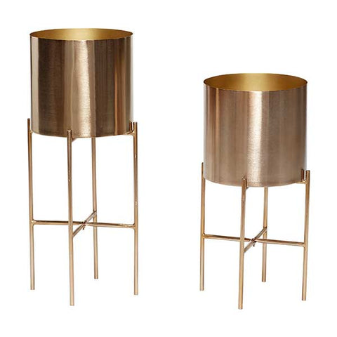 Modern brass planters on stand