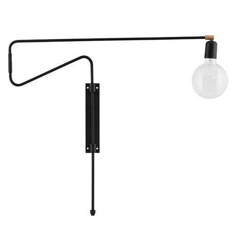 Black + Brass Swing Wall Lamp - plug in (Large)