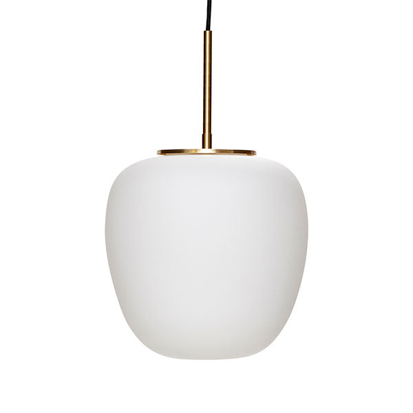 Aurelia Pendant Light - White Glass + Brass