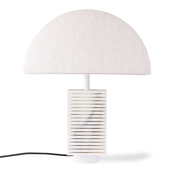 White Marble Ribbed Table Lamp + Semi Circle Shade