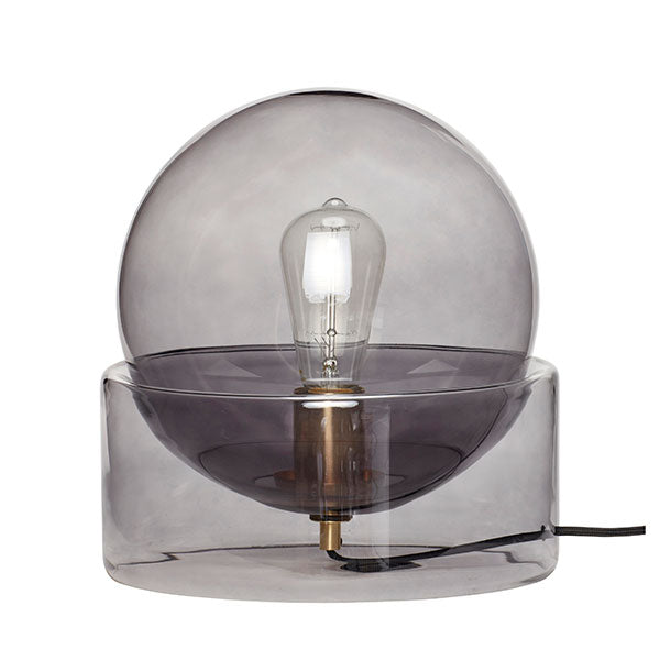 Smoke Grey Glass Table Lamp