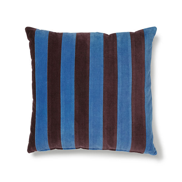 Velvet Cushion - Blue + Purple Stripes (with luxury feather inner)