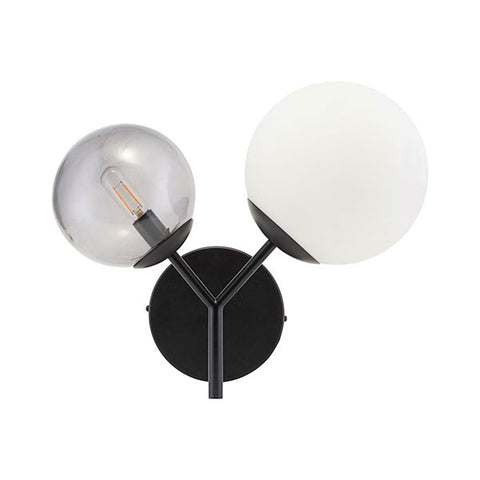 Margaux Two-Globe Modern Wall Light (Black + White) plug-in or hardwire