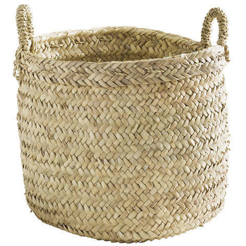 Palm Leaf Woven Basket with Handles - Large