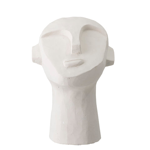 Modern White Cement Head Sculpture