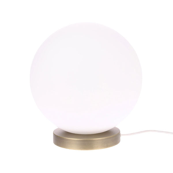 Moon Table Lamp - Smooth Matt White Glass + Brass (Large)