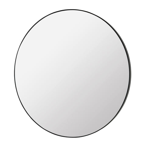 Extra Large Round Mirror with Thin Profile Black Frame (110cm)