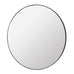 Large round mirror with thin profile black frame (110cm)