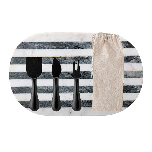 Luxe Monochrome Marble Board + Black Steel 3 Piece Cheese Set