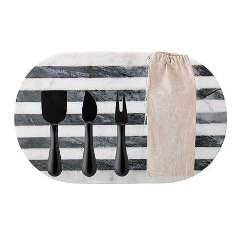 Luxe Monochrome Marble Board + Black Steel 3 Piece Cheese Utensil Set