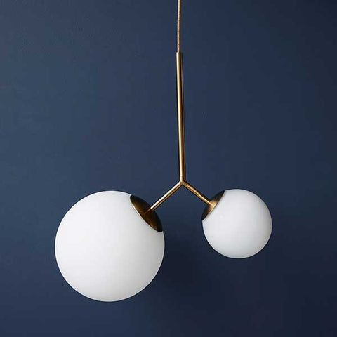 Margaux 2 - two-globe modern pendant light - brass and white glass