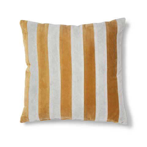 Velvet Cushion - Gold Stripes (with luxury feather inner)