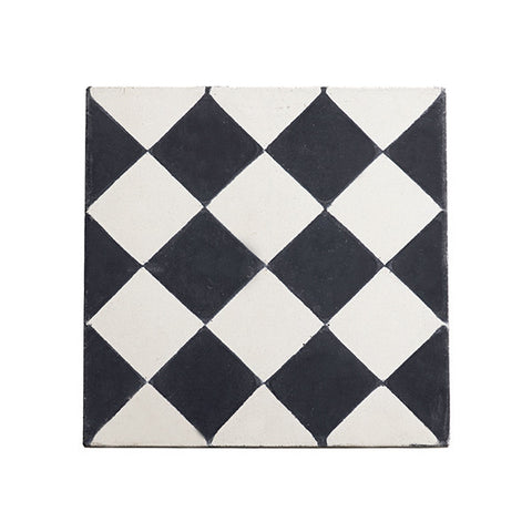 Moroccan cement floor + wall tiles (checkerboard)