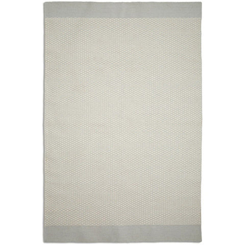 Pale grey + white wool rug - style 6