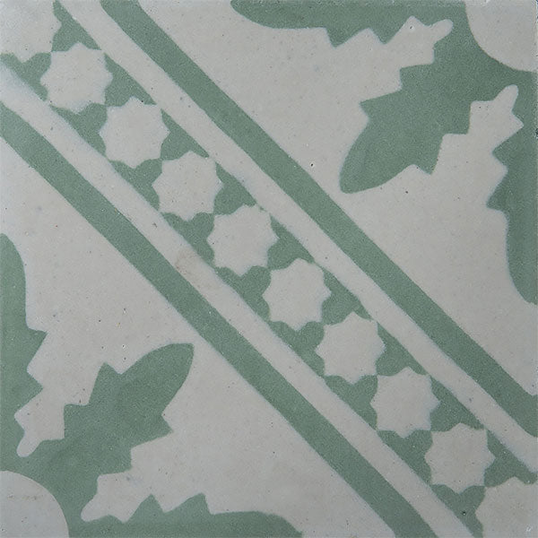 Palmblad Cement Tiles - Dusty Mint