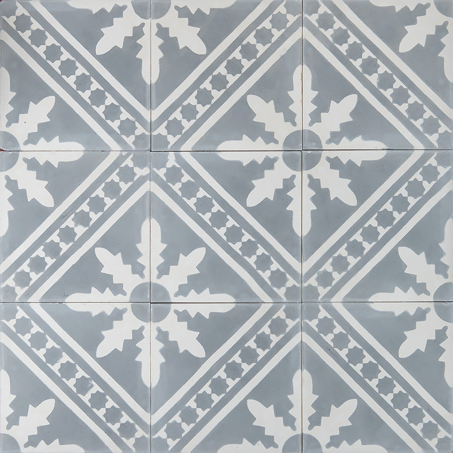 Palmblad Cement Tiles - Grey and White