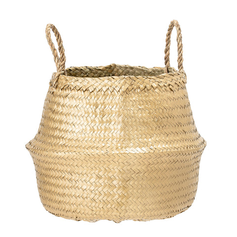 Seagrass Basket or Planter - Metallic Gold