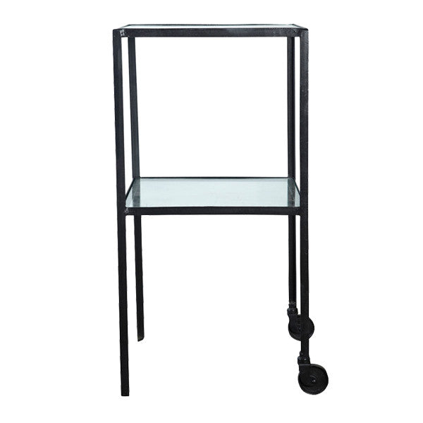 Black Iron Tall Side table or Drinks Trolley with Glass Shelves * display item