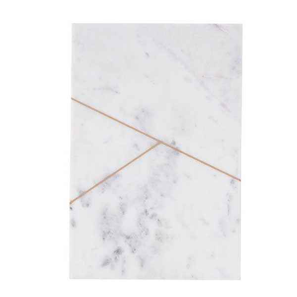 White marble serving board with brass line detail (style 1)