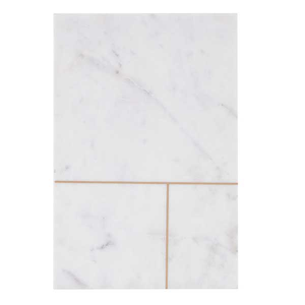 White marble serving board with brass line detail (style 2)