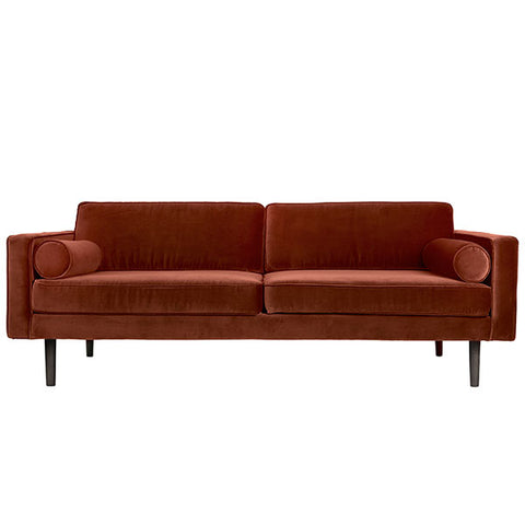 Velvet Sofa in Rich Rust