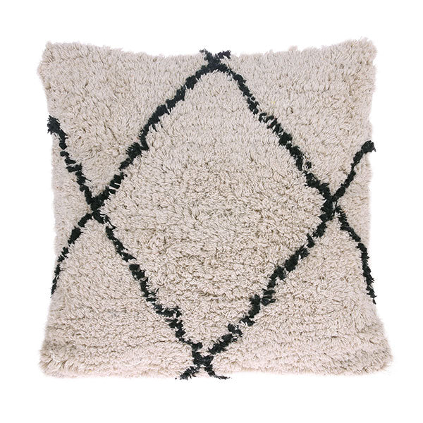 Berber Cushion - Soft White + Black (50 x 50cm)