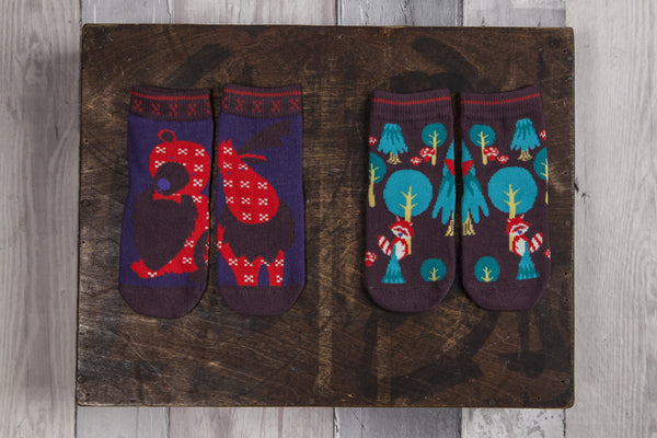 Children's socks. Moose, Bear and Raccoon baby socks