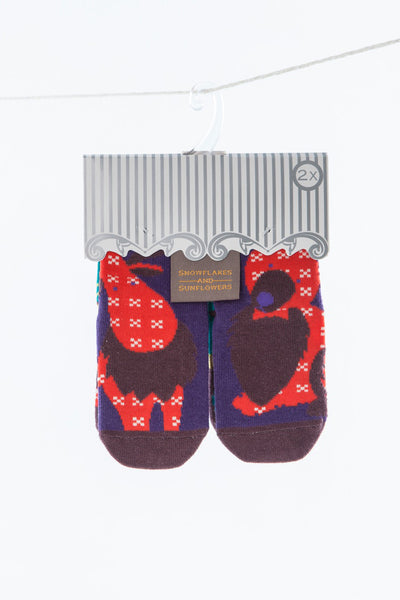 Moose, bear and raccoon girls' socks