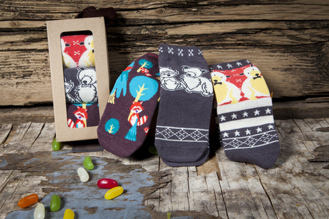 Snowflakes and Sunflowers colourful animal sock box set