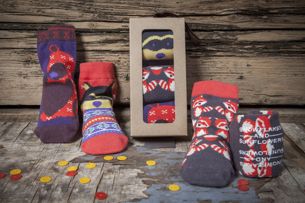 Red and brown animal, bears, moose raccoon sock gift sets