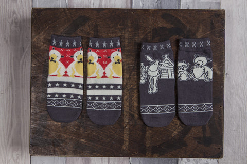 Grey, white and red, bear and mooose, animal friends socks