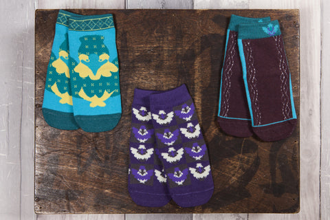 Cute Snowflakes and Sunflowers animal children's socks