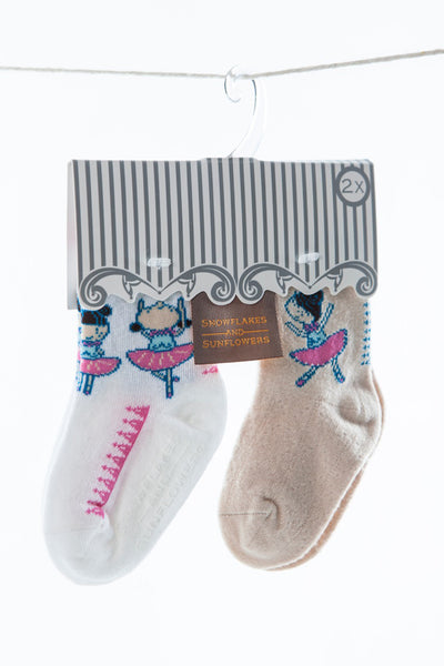 Pink white and cream Ballerina socks for girls