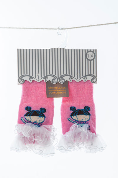 Lace edged girly ballerina Snowflakes and Sunflowers socks