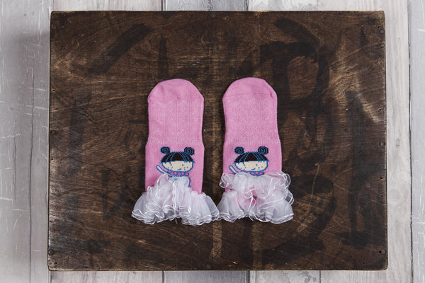 Cute lace edged girly ballerina Snowflakes and Sunflowers socks