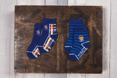 Fun blue bear design socks for boy's, embroidered bear emblem