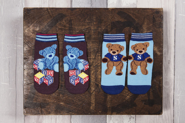 Fun bear socks for boys, brown and blue anti slip socks.