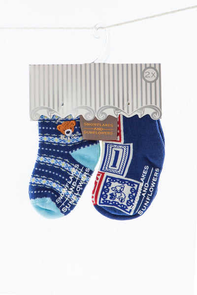 fun bear design socks for boys, embroidered bear emblem on blue socks.