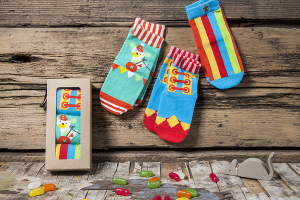 3 pair gift box for boys' and girls' is circus themed with fun and playful overlapping designs.