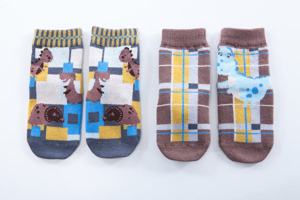 2 pair Snowflakes and Sunflowers dinosaur socks for boys.