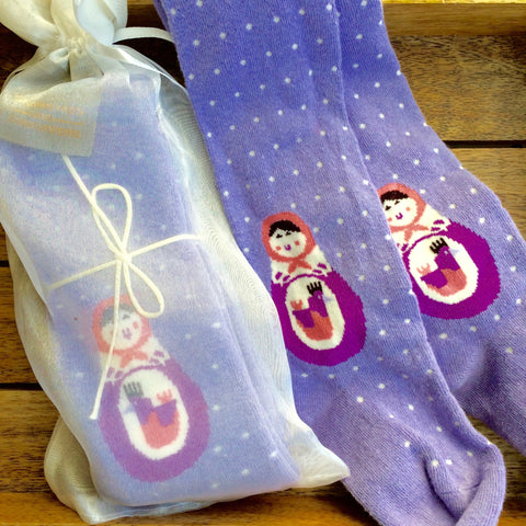 Purple Polka Dot Childrens Tights