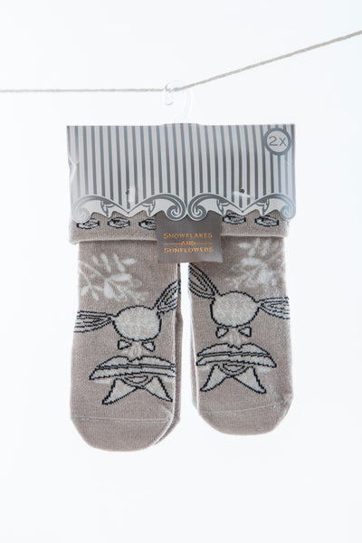 Cute girls 2 pack Snowflakes and Sunflowers socks.