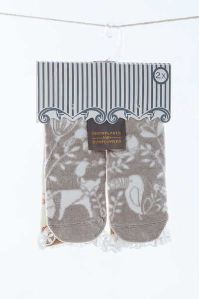 Cute girls lace 2 pack Snowflakes and Sunflowers socks.