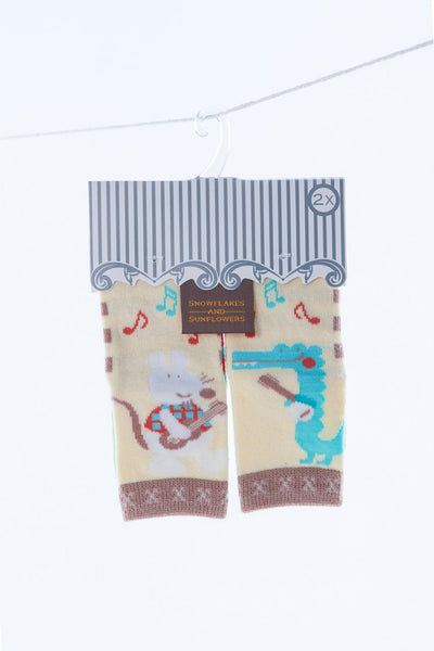 2 pack neutral boys' and girls' Snowflakes and sunflowers socks