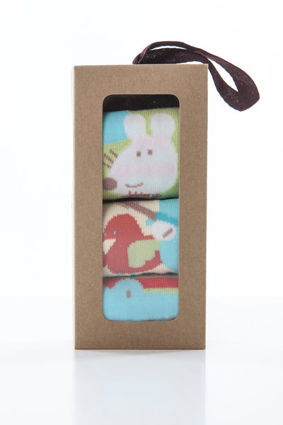3 pair gift box neutral boys' and girls' character socks
