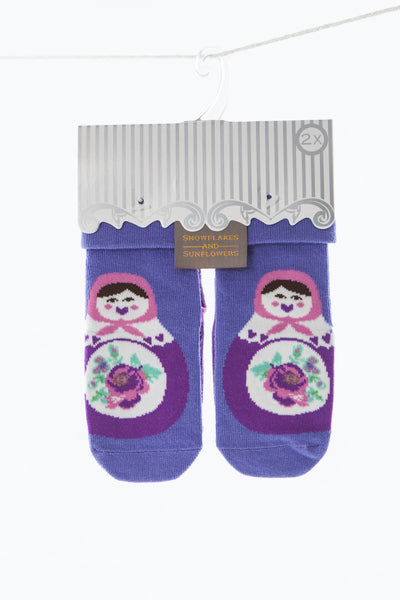 2 pack girls' purple russian doll snowflakes and sunflowers socks