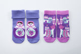 2 pack girls' purple snowflakes and sunflowers socks
